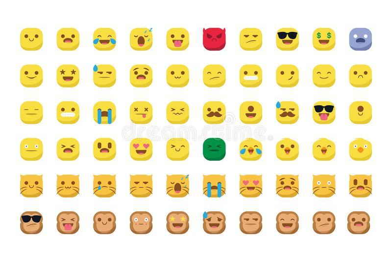 Милые emojis при изолированный вектор smiley кота и обезьяны стоковые изображения rf