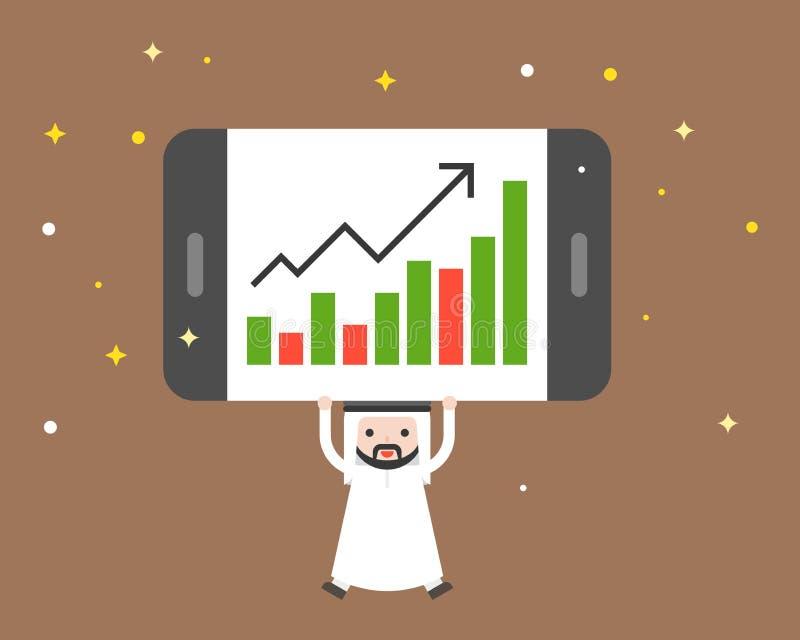 Милый арабский бизнесмен носит гигантскую диаграмму в виде вертикальных полос настоящего момента таблетки, busi иллюстрация штока
