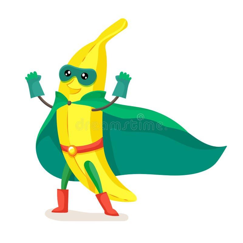 Милый банан в супергерое плаща, маске, joyfully поднимая вверх руки бесплатная иллюстрация