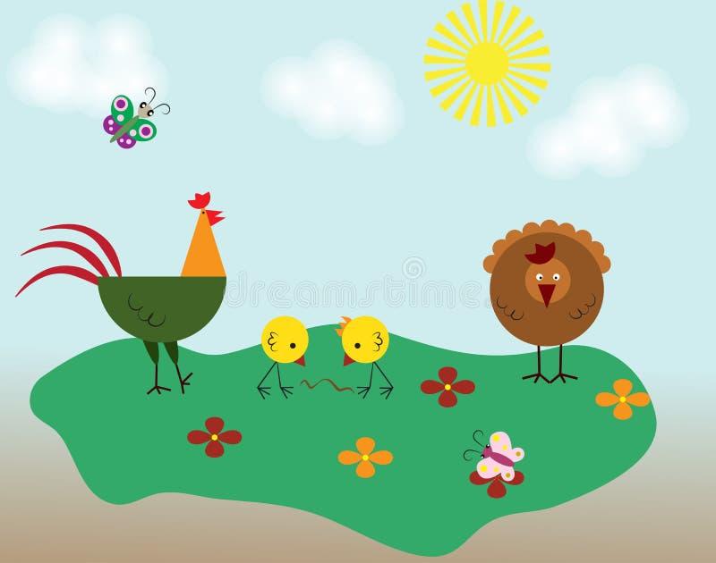 Милый беж и красный цвет и цыпленок 7 животных серий иллюстрации фермы шаржа Любимец дома мультфильма Комплект семьи цыпленка Пло бесплатная иллюстрация