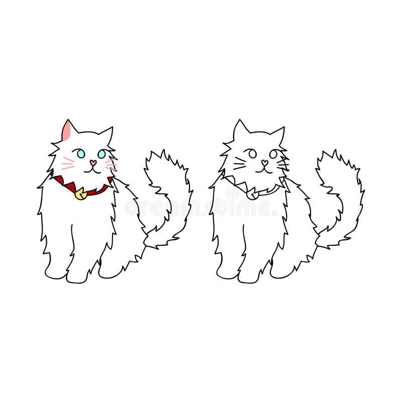 Милый белый персидский кот также вектор иллюстрации притяжки corel белизна изолированная предпосылкой иллюстрация вектора