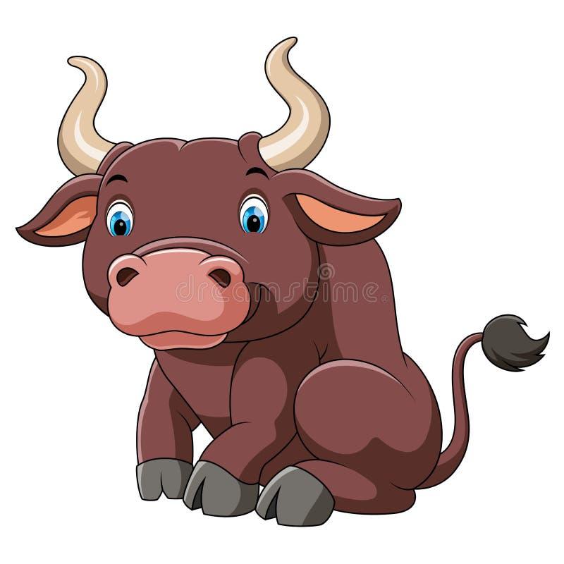 Милый большой мультфильм быка бесплатная иллюстрация