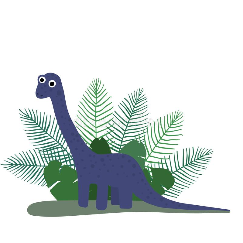 Милый, брахиозавр динозавра мультфильма на предпосылке кустов тропических листьев ладони r иллюстрация вектора