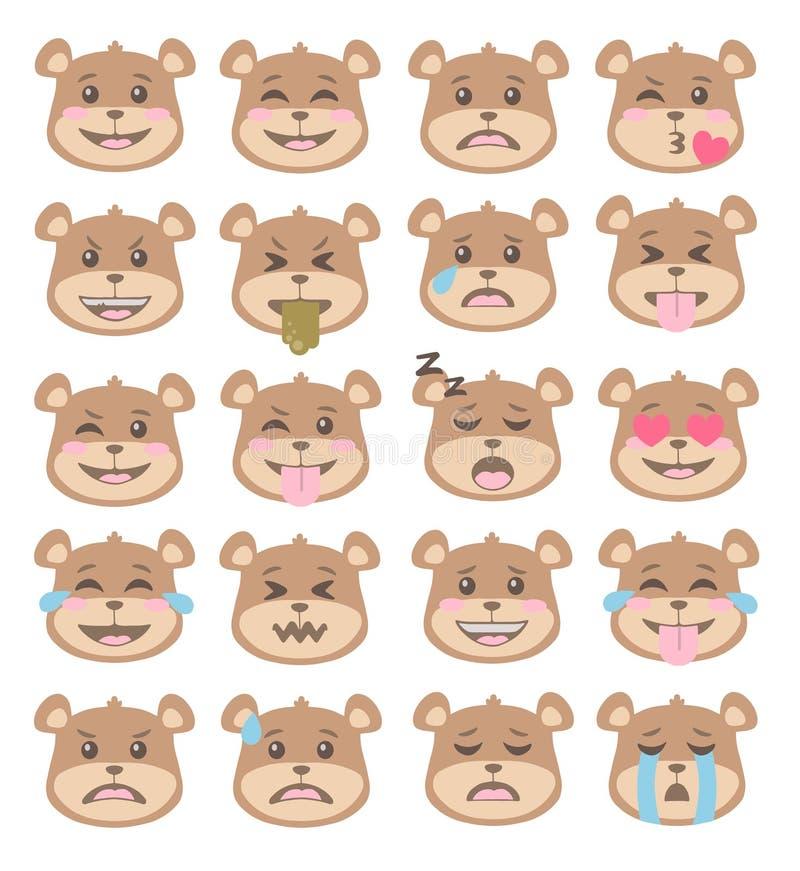 Милый бурый медведь стиля мультфильма смотрит на с различными выражениями лица, набором векторов смайлика иллюстрация штока