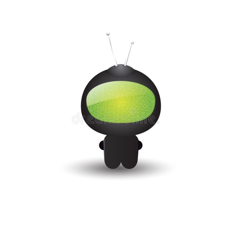 Милый векторный маленький черный робот с антеннами и зеленым монитором Значок Chatbot Символ мультипликации, 3D-эффект иллюстрация вектора