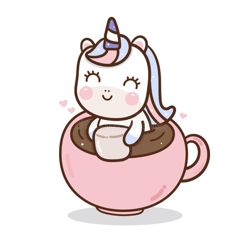 Милый вектор единорога в нарисованной руке предпосылки кофейной чашки бесплатная иллюстрация