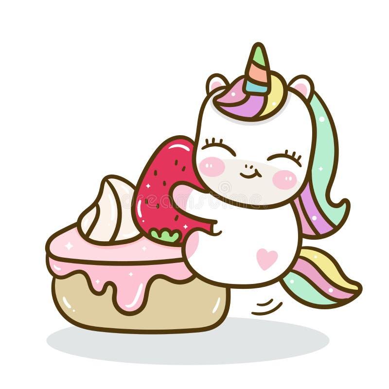 Милый вектор единорога со сладким тортом, партией с днем рождений иллюстрация штока