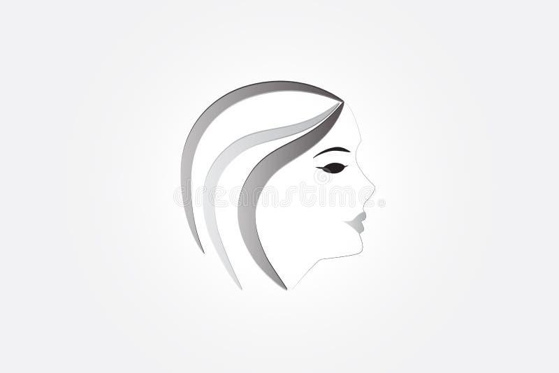 Милый вектор логотипа женщины стороны иллюстрация штока