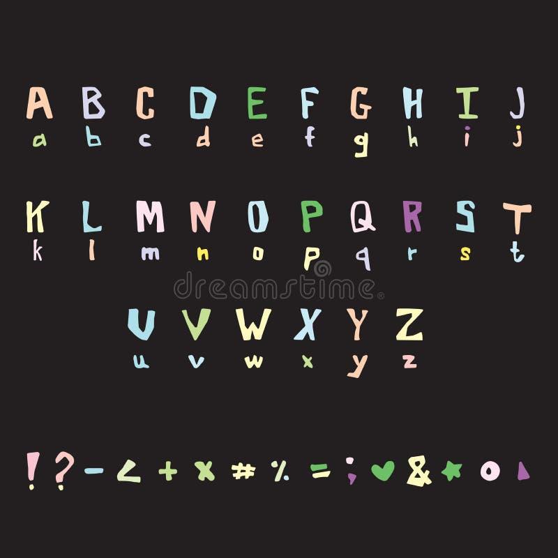Милый вектор писем Рукописный шрифт иллюстрация штока