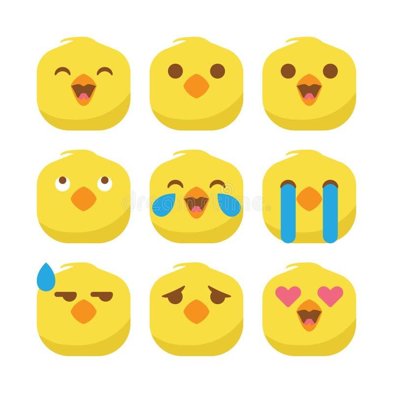 Милый вектор smilley смайлика emojis цыпленка стоковые изображения rf