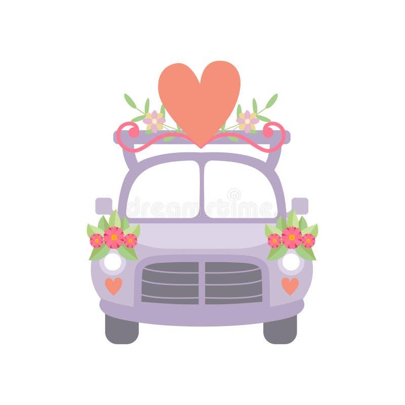 Милый винтажный автомобиль украшенный с цветками и красным сердцем, автомобилем романтичной свадьбы ретро, иллюстрацией вектора в иллюстрация вектора