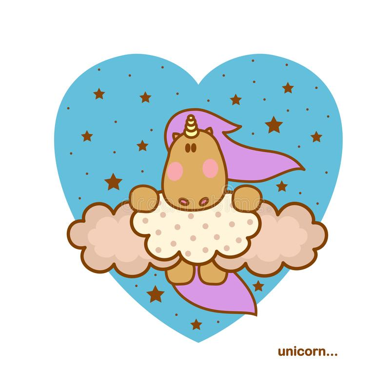 Милый волшебный единорог сидит на облаках со звездами вокруг и голубом сердце на предпосылке иллюстрация вектора