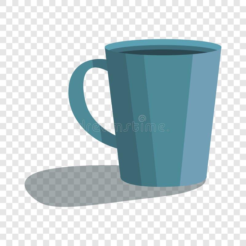 Милый голубой значок чашки, стиль шаржа иллюстрация штока