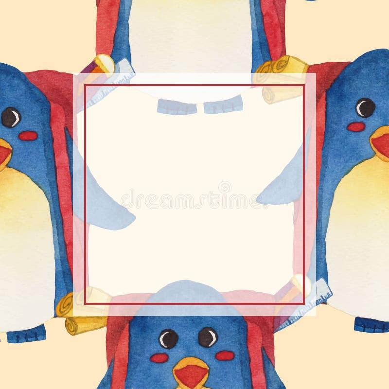 Милый голубой пингвин с акварелью карточки знамени рюкзака также вектор иллюстрации притяжки corel белизна изолированная предпосы иллюстрация вектора