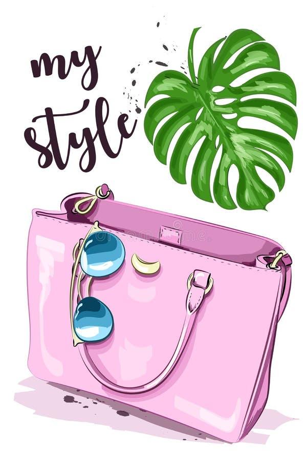 Милый график установленный с стильными аксессуарами: солнечные очки и розовая сумка эскиз бесплатная иллюстрация