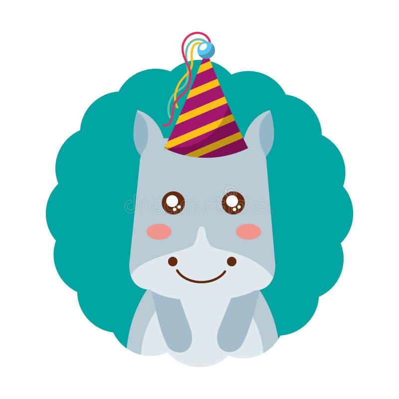 Милый день рождения шляпы партии гиппопотама бесплатная иллюстрация