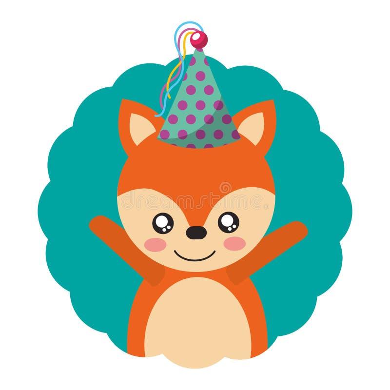 Милый день рождения шляпы партии лисы бесплатная иллюстрация