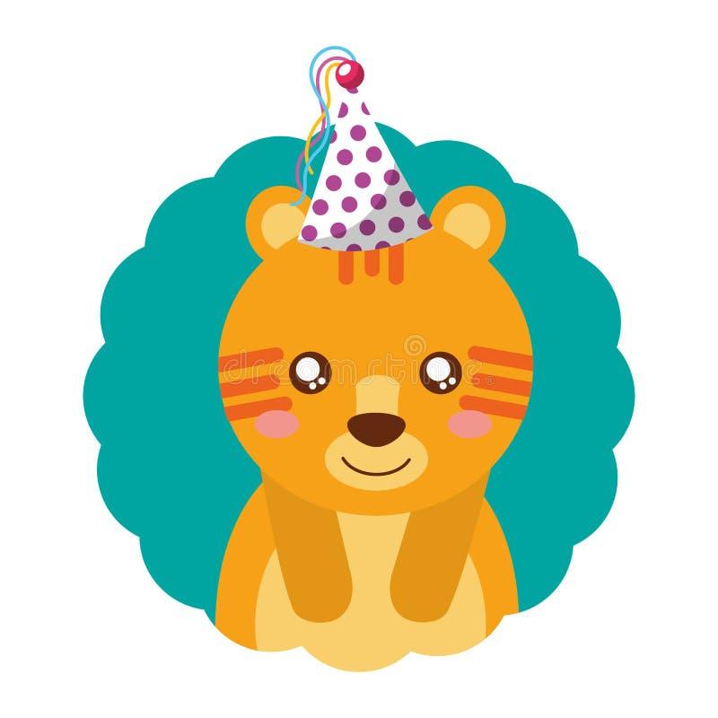 Милый день рождения шляпы партии тигра иллюстрация штока