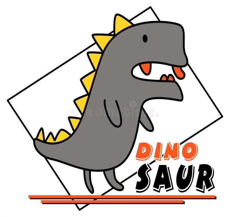 Милый дизайн вектора динозавра иллюстрация вектора