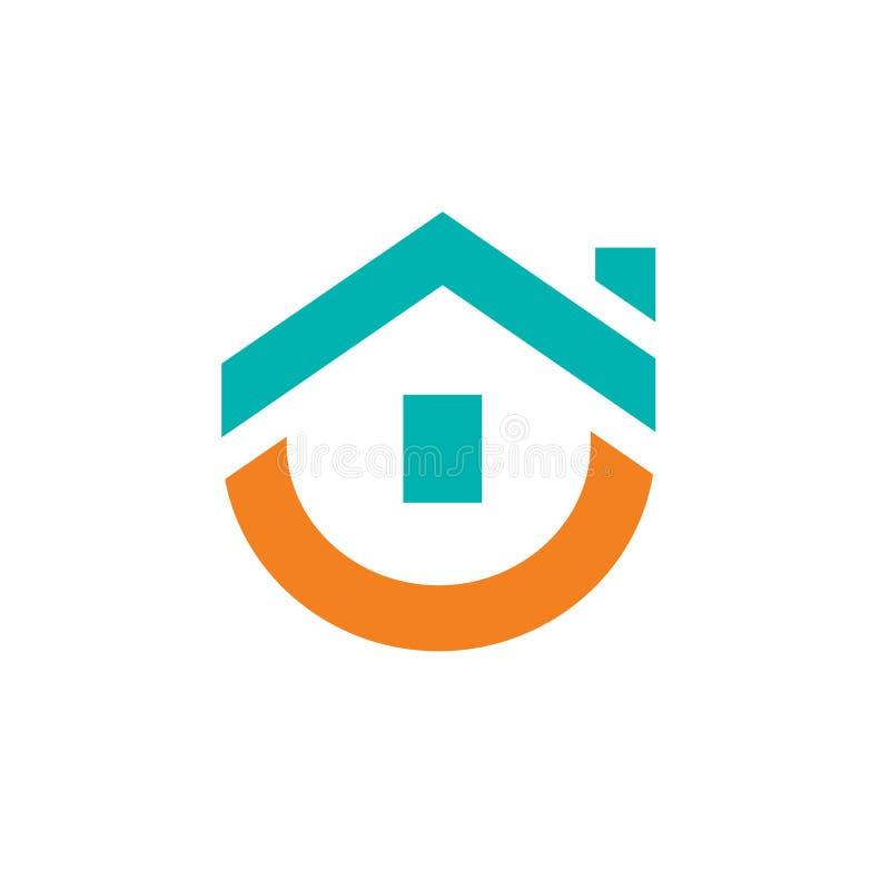 Милый дизайн логотипа дома, иллюстрация вектора иллюстрация вектора