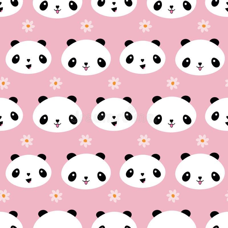 Милый дизайн панды стиля Kawaii с цветками Безшовная геометрическая картина вектора на мягкой розовой предпосылке Большой для иллюстрация штока