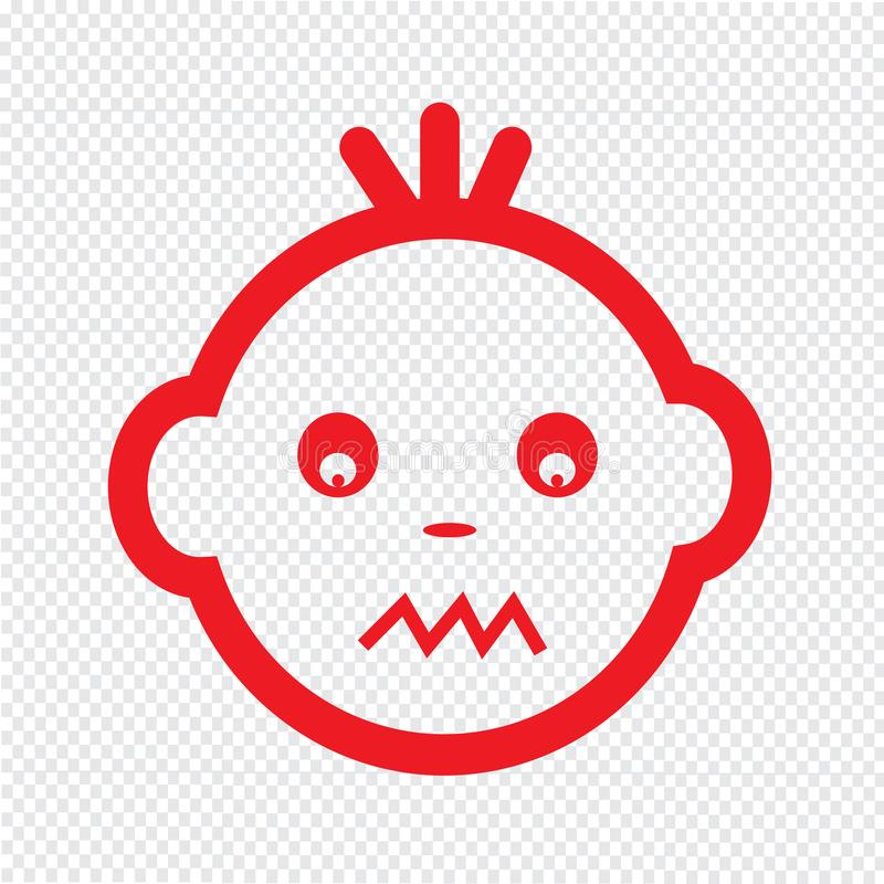 Милый дизайн символа иллюстрации значка эмоции стороны младенца иллюстрация штока