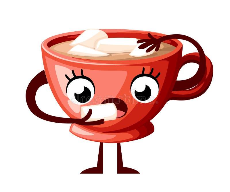 Милый дизайн характера чашки coffe Чашка стиля мультфильма ест зефир Чашка талисмана красная Иллюстрация вектора изолированная на иллюстрация штока