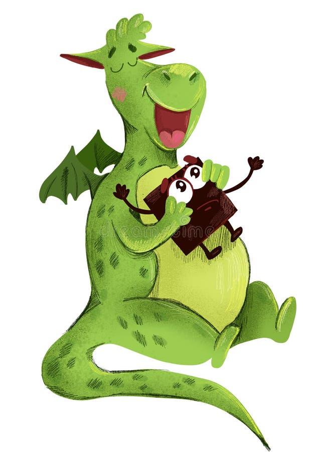 Милый динозавр ест шоколад иллюстрация вектора