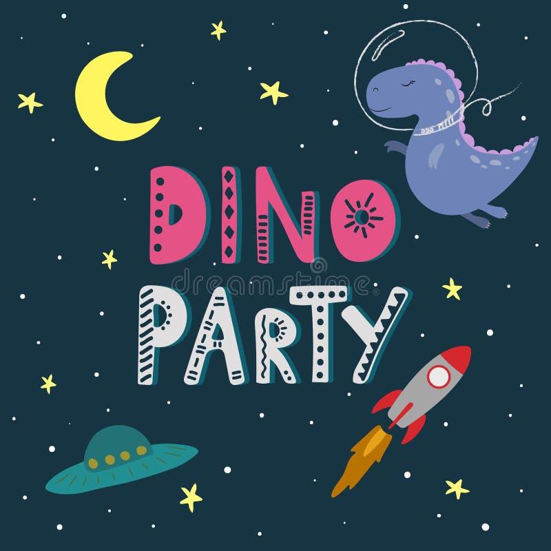 Милый динозавр мультфильма в космосе Литерность партии Dino иллюстрация вектора