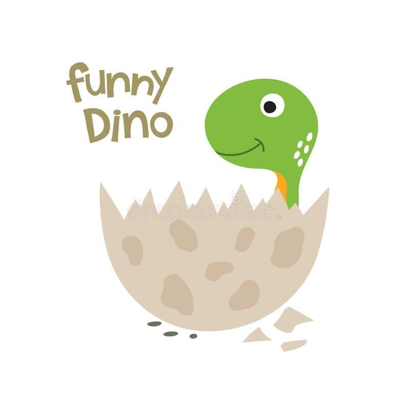 Милый динозавр мультфильма в яйце иллюстрация штока