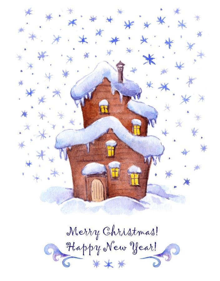 Милый дом в снеге Рождество приветствию, карточка Нового Года watercolour иллюстрация штока