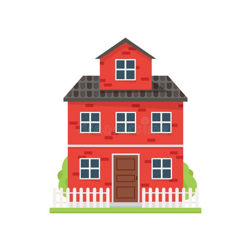 Милый дом красного кирпича с белой загородкой и зеленым двором иллюстрация штока