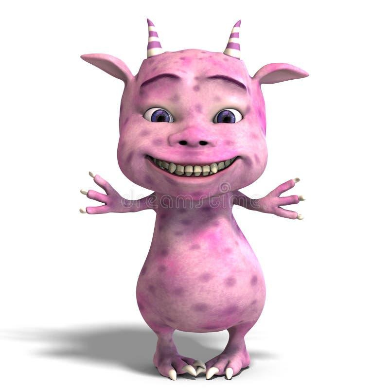 милый дракон маленький розовый toon дьявола иллюстрация штока