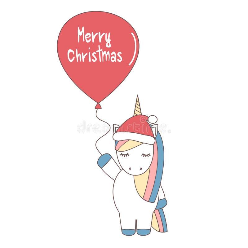 Милый единорог вектора шаржа с шляпой и воздушным шаром ` s santa с с Рождеством Христовым текстом бесплатная иллюстрация