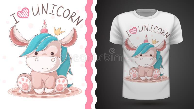 Милый единорог игрушечного Идея для футболки печати бесплатная иллюстрация