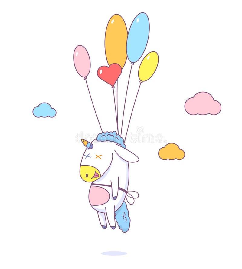 Милый единорог летает на воздушные шары в облаках бесплатная иллюстрация