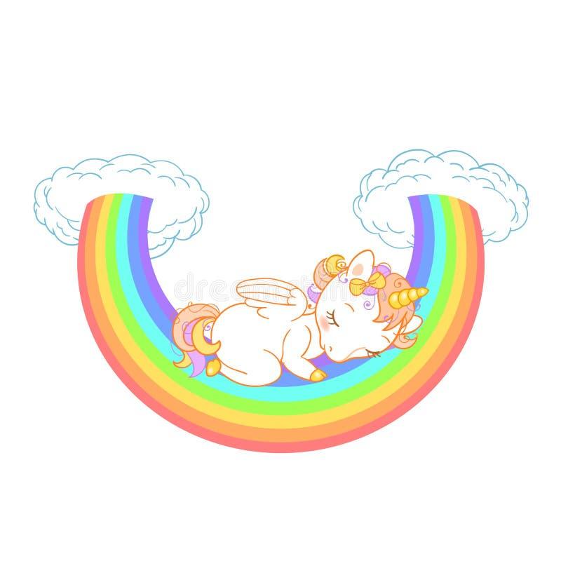 Милый единорог младенца спать на радуге с облаками Иллюстрация вектора для детей конструирует иллюстрация вектора