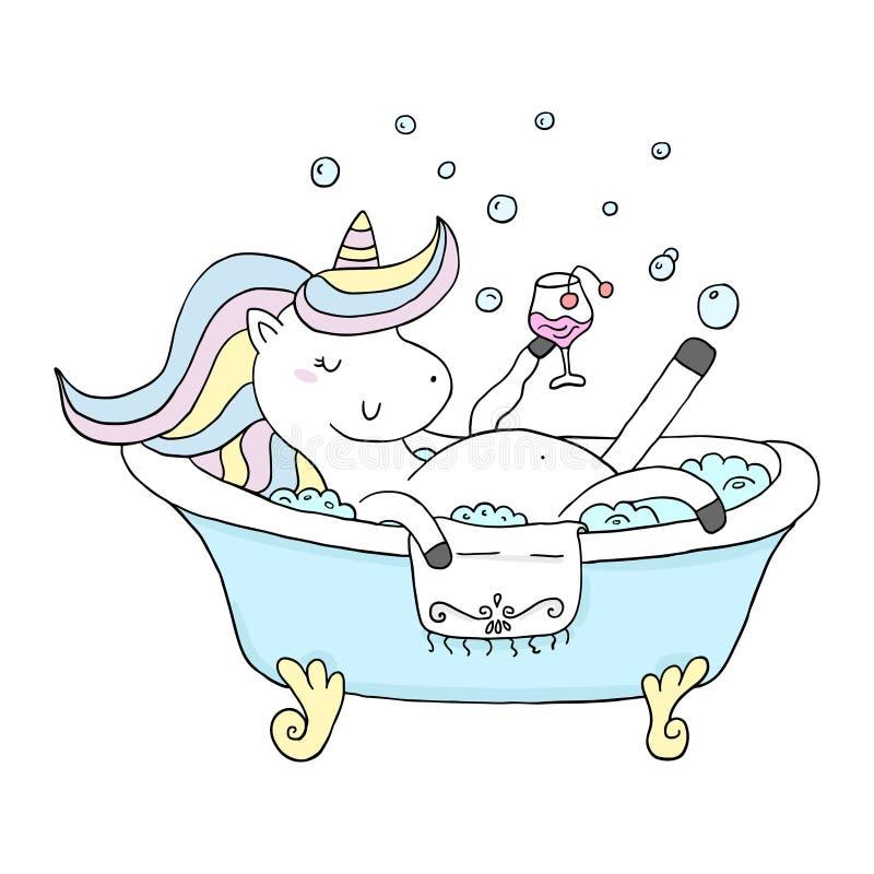 Милый единорог персонажа из мультфильма купает в bathroom со стеклом печать вектора иллюстрация вектора