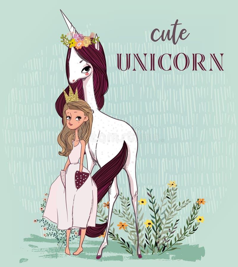 Милый единорог с принцессой иллюстрация штока