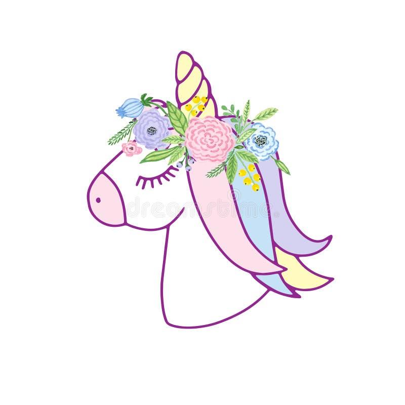 Милый единорог с флористическим венком иллюстрация штока
