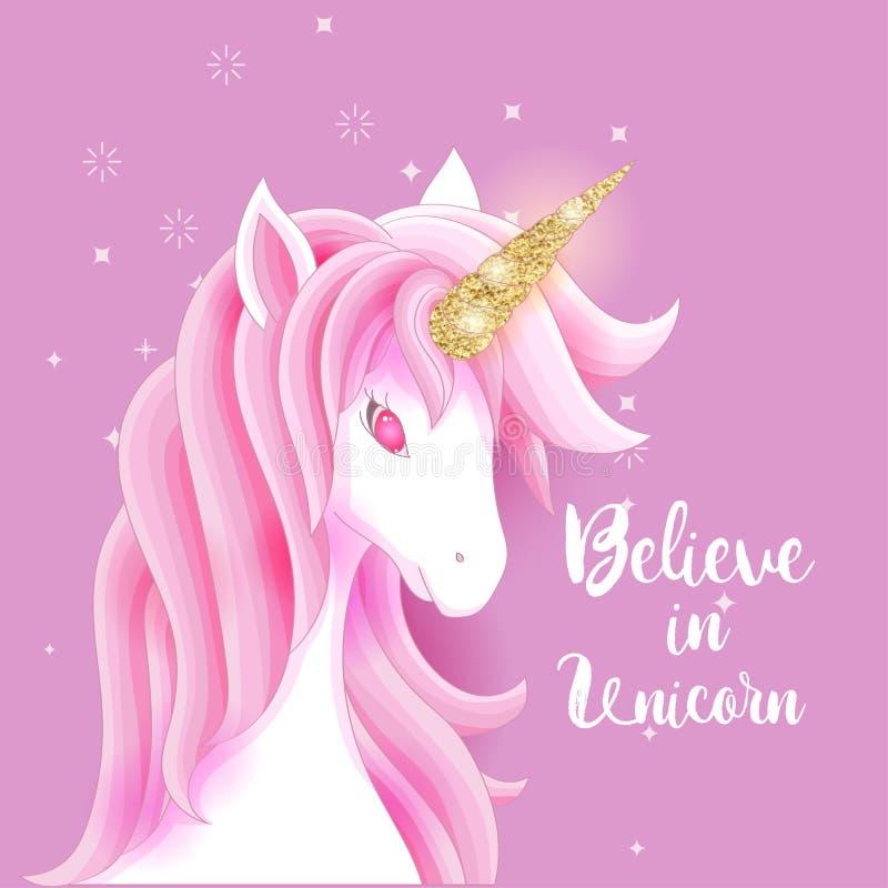Милый единорог с ярким блеском золота и розовыми волосами иллюстрация штока