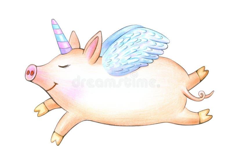 Милый единорог, шарж свиньи бесплатная иллюстрация
