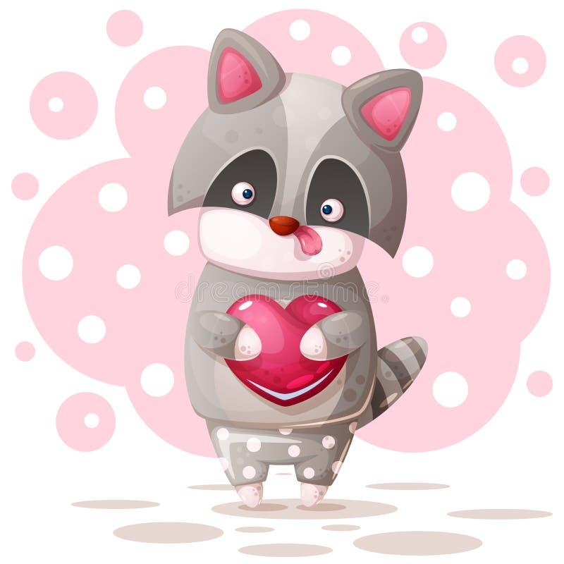 Милый енот с розовым сердцем иллюстрация вектора