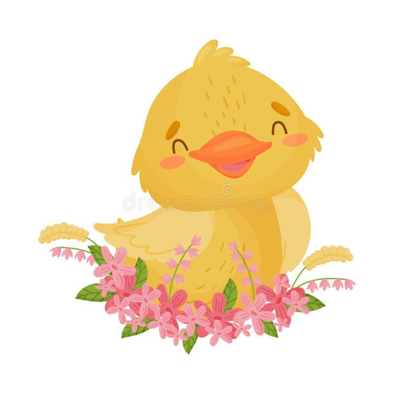 Милый желтый утенок сидит в цветках r бесплатная иллюстрация