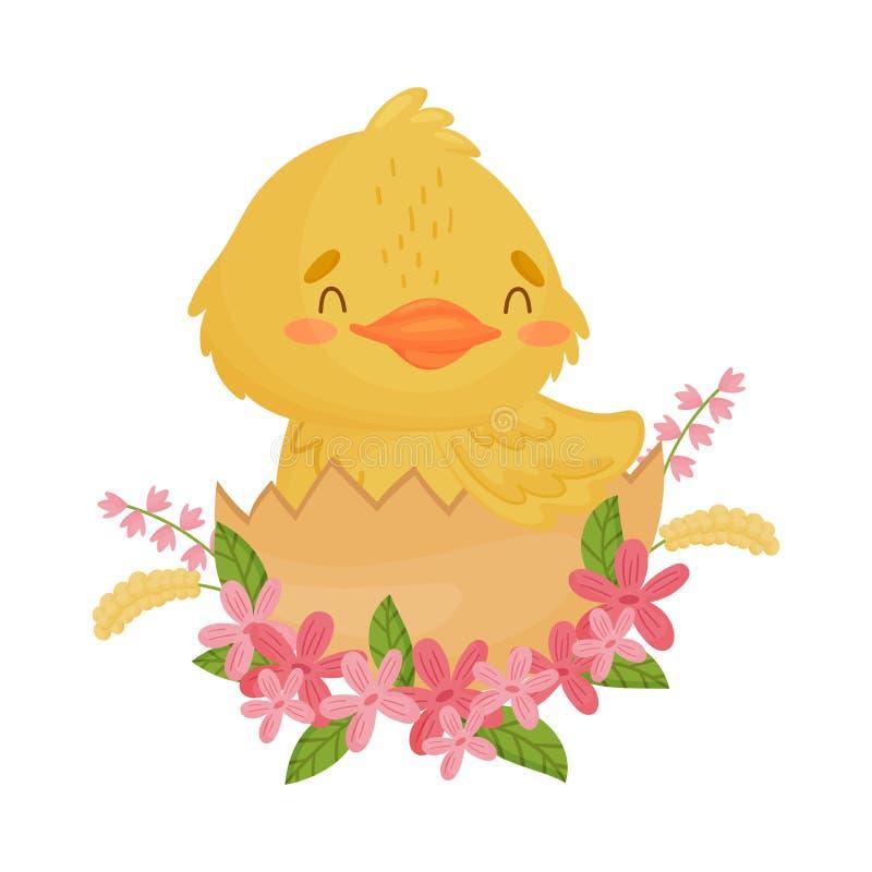 Милый желтый утенок сидя в раковине r бесплатная иллюстрация