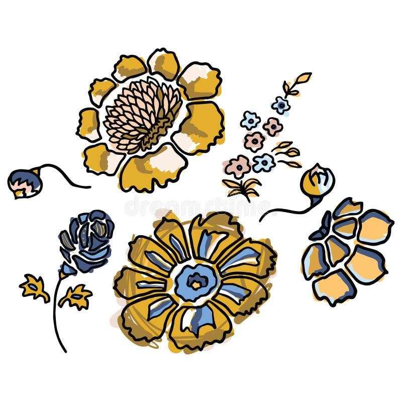 Милый желтый флористический набор мотива иллюстрации вектора мультфильма Clipart элементов цветка весны руки вычерченное изолиров иллюстрация штока