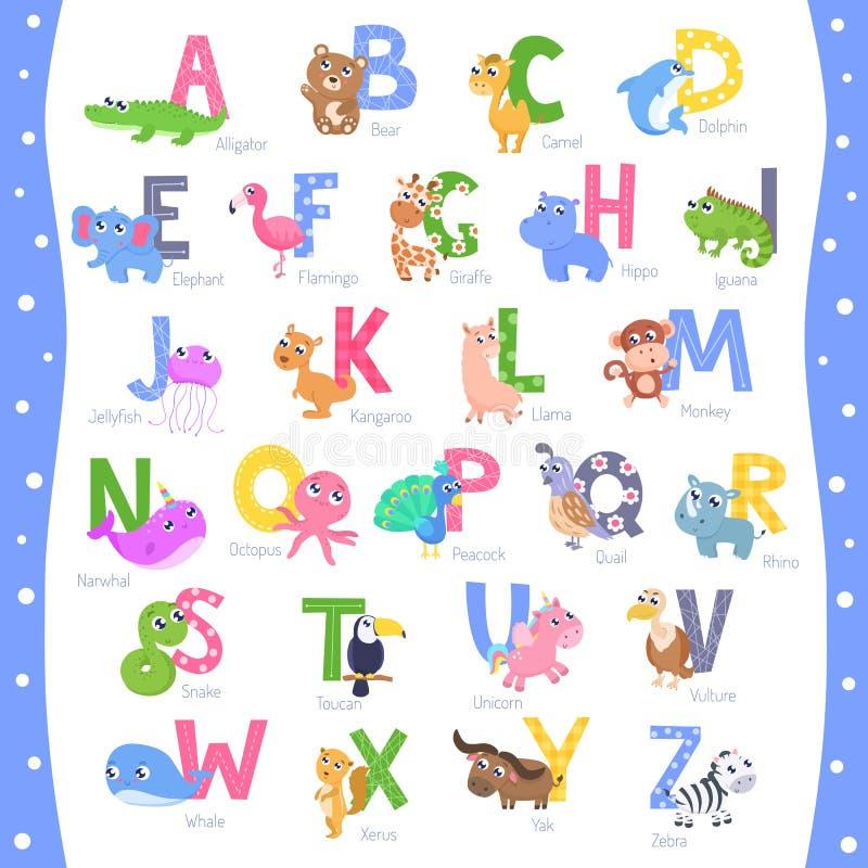 Милый животный алфавит ОТ НАЧАЛА ДО КОНЦА иллюстрация штока