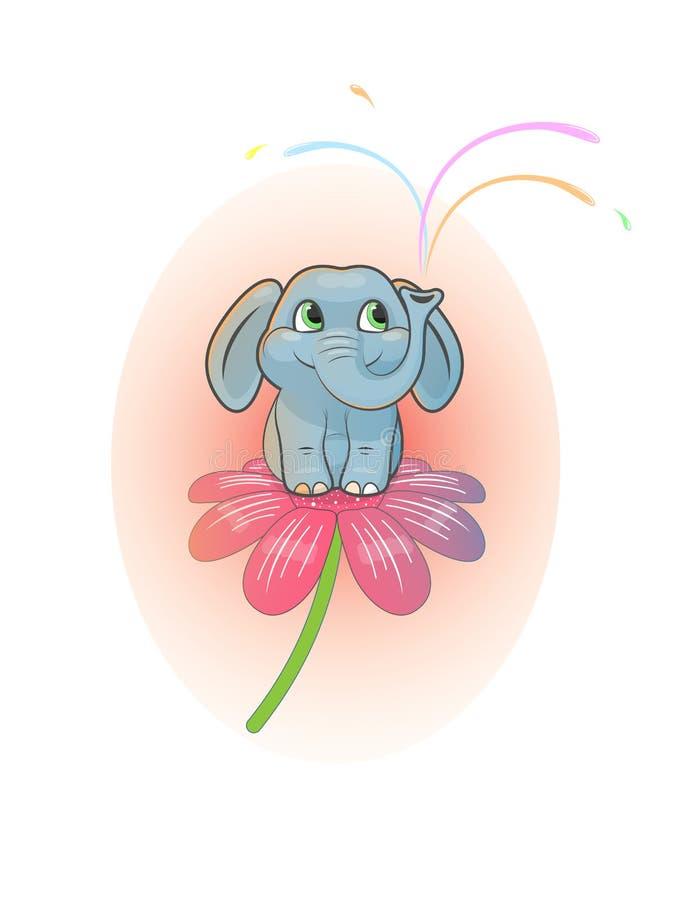 Милый жизнерадостный слон младенца сидит на цветке бесплатная иллюстрация