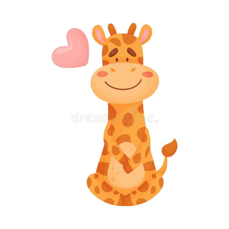 Милый жираф в любов r иллюстрация вектора
