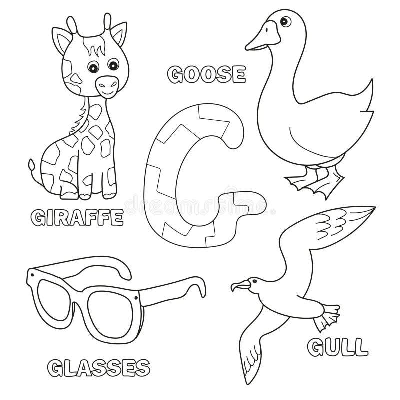 Милый жираф, гусыня, стекла, чайка для письма g в алфавите детей иллюстрация вектора